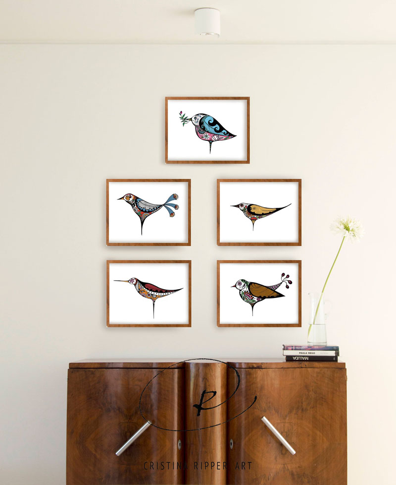 This set of bird art prints by SimpleArtStudio, showcases five different birds, each with their own character. #BirdWallArt #BirdArt #BirdHomeDecor #Birds