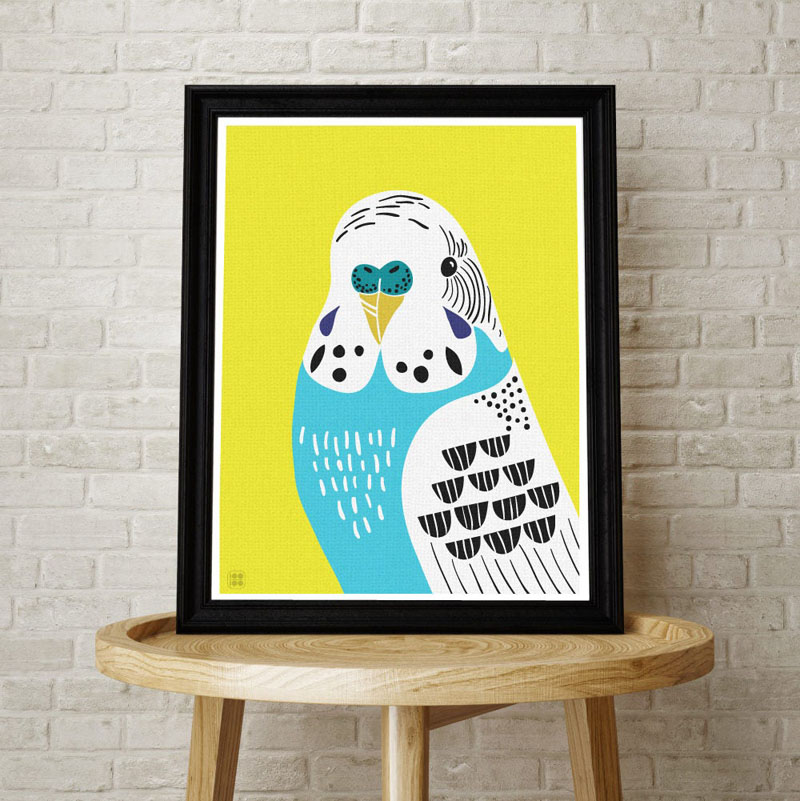 QwertyIllustration have created a contemporary Budgie art print, that will add a pop of color to any interior. #BirdWallArt #BirdArt #BirdHomeDecor #Birds #Budgie