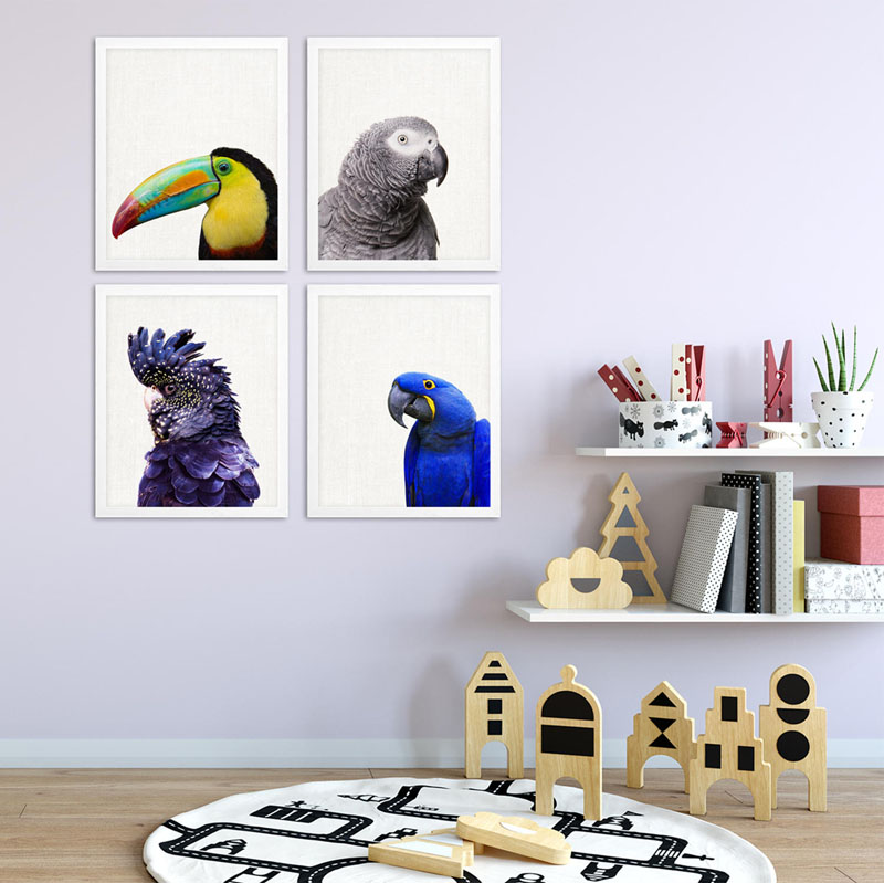 This four-piece set of exotic parrot photo prints is available as a digital download by UltraSonicBoom. #BirdWallArt #BirdArt #BirdHomeDecor #Birds
