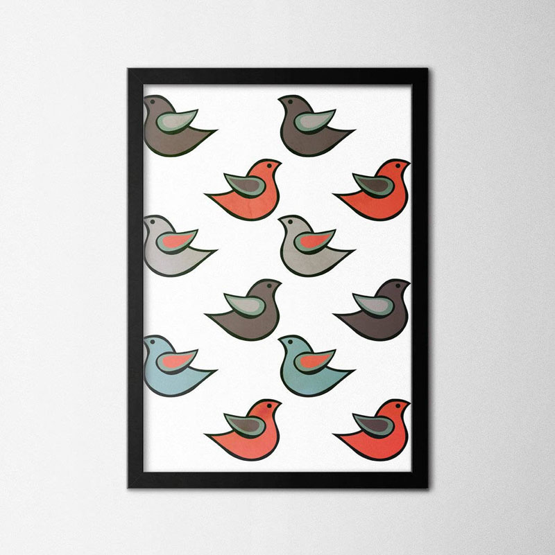 This modern bird poster has been inspired by Scandinavian design. #BirdWallArt #BirdArt #BirdHomeDecor #Birds