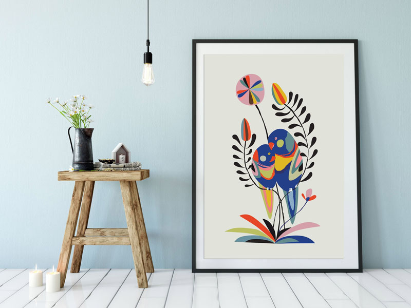 Brightly colored Rainbow Lorikeets are the subject of this fun art print. #BirdWallArt #BirdArt #BirdHomeDecor #Birds