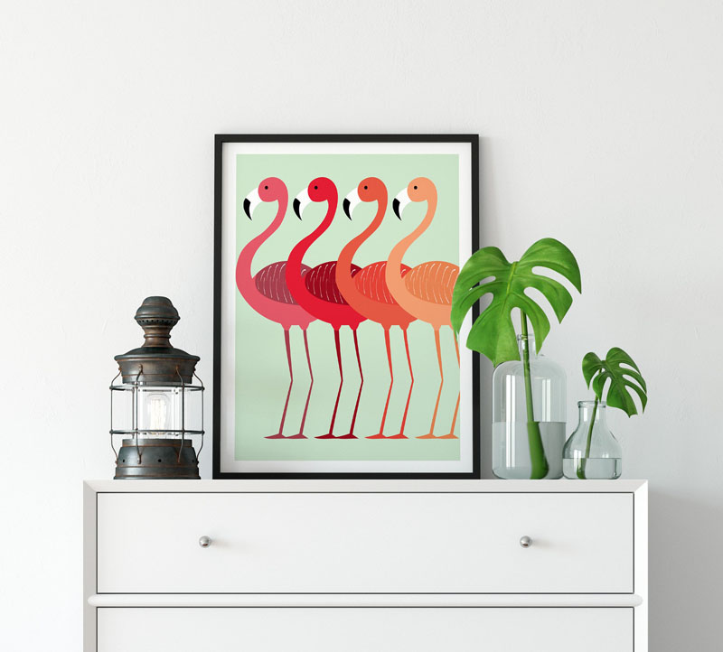 NordicDesignHouse have created this wall art print of a flamingo flock in a minimalist Scandinavian style. #BirdWallArt #BirdArt #BirdHomeDecor #Birds