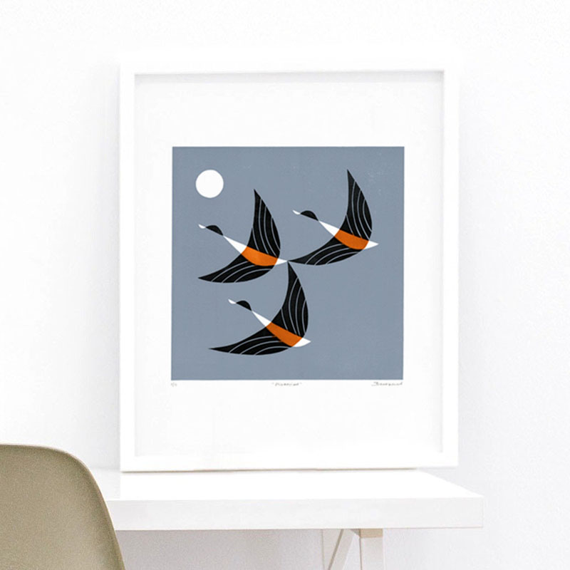 "This modern linocut art print by inkcraft, is titled ""Migration"", and shows three birds flying in the sky. #BirdWallArt #BirdArt #BirdHomeDecor #Birds"