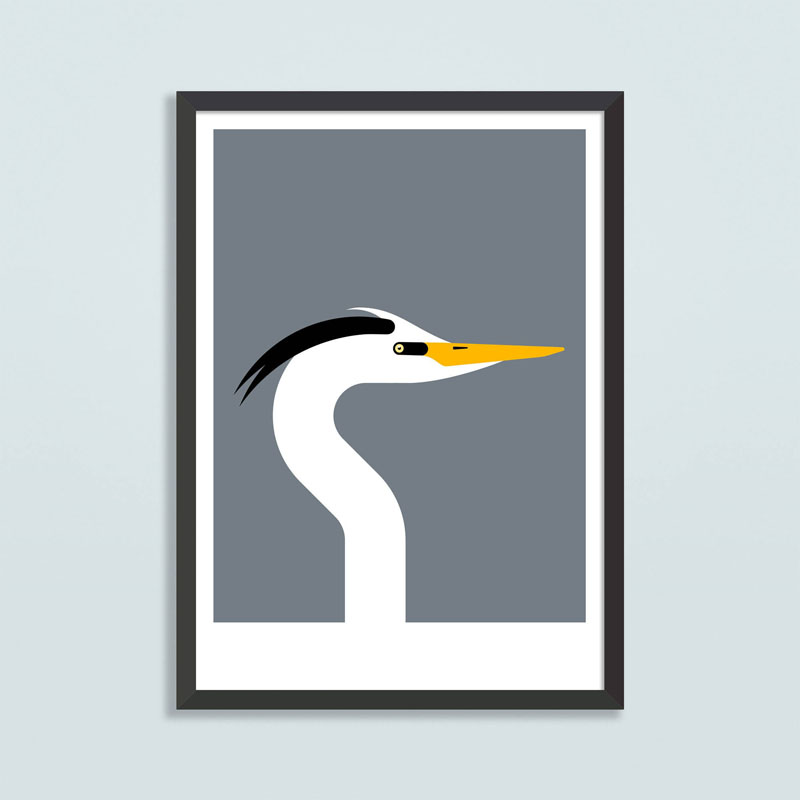 RocketJackDesign has created this modern Scandinavian inspired art print of a British Heron. #BirdWallArt #BirdArt #BirdHomeDecor #Birds #ArtPrint