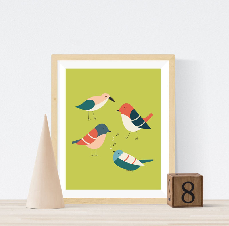 Maplewood Prints took inspiration from mid-century modern design when creating this fun bird wall art. #BirdWallArt #BirdArt #BirdHomeDecor #Birds