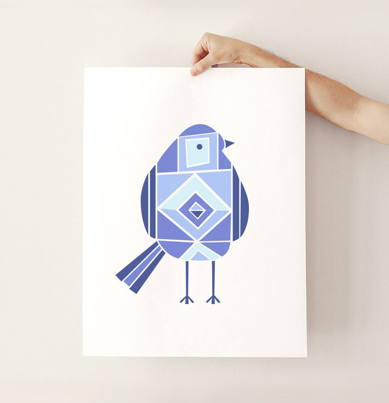 This geometric bird print by the ArtCandyCompany, combines a variety of blues on a white background. #BirdWallArt #BirdArt #BirdHomeDecor #Birds