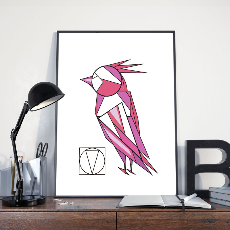 This digital art print uses geometric shapes together with pinks and purples, to create a fun and modern bird. #BirdWallArt #BirdArt #BirdHomeDecor #Birds #GeometricWallArt