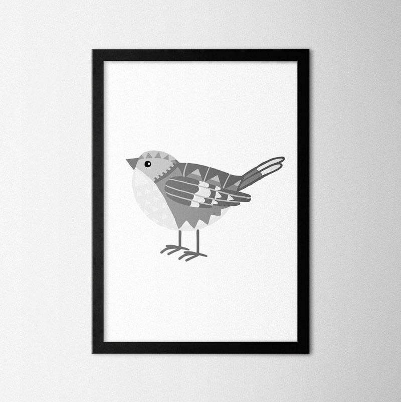 This little grey bird art print was designed with geometric patterning. #BirdWallArt #BirdArt #BirdHomeDecor #Birds #ArtPrint