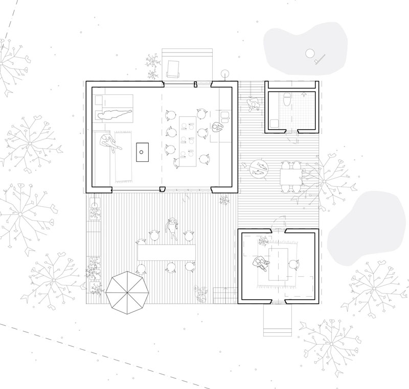 The floorplan of this modern Swedish house is separated into three buildings, the main living building, the bathroom building, and the home office building. #ModernHouse #FloorPlan