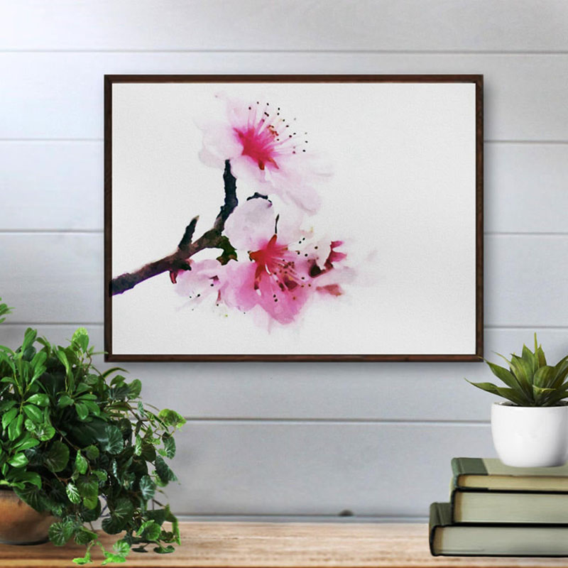 This cherry blossom art print by Dwella Mahoney Art, can be downloaded in a variety of sizes, making it easy to suit any empty all space. #CherryBlossomWallArt #CherryBlossom #CherryBlossomDecor #CherryBlossomArt