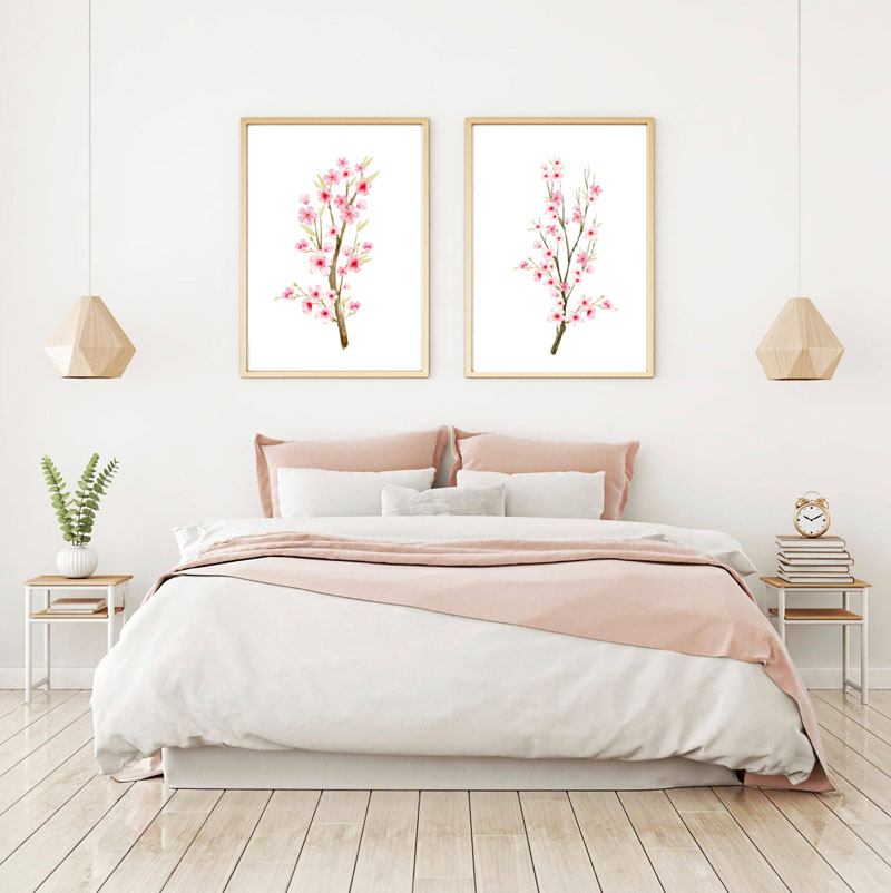 This downloadable set of 2 watercolor cherry blossom wall art prints by Susan Fern, allows the artist to give 100% of the proceeds to programs assisting impoverished, at risk, and homeless youth. #CherryBlossomWallArt #CherryBlossom #CherryBlossomDecor #CherryBlossomArt