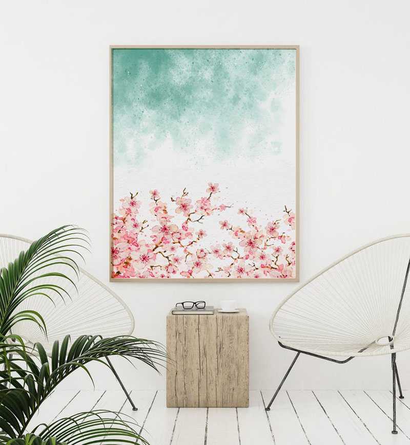 This cherry blossom wall art print combines pink and teal for a contemporary look. #CherryBlossomWallArt #CherryBlossom #CherryBlossomDecor #CherryBlossomArt