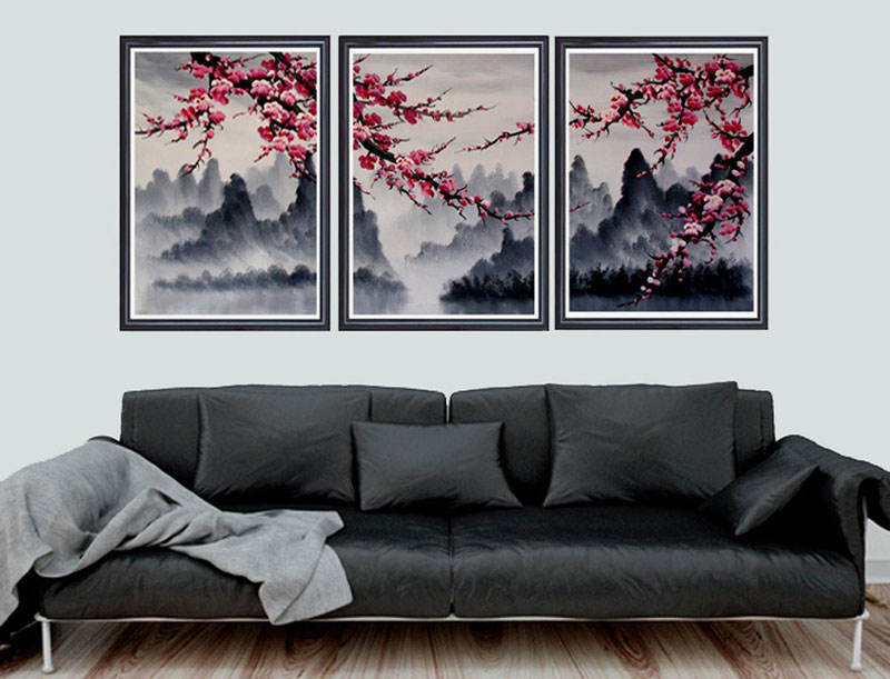 This triptych cherry blossom wall art by Loft817, has colorful flower blossoms with a backdrop of misty mountains. #CherryBlossomWallArt #CherryBlossom #CherryBlossomDecor #CherryBlossomArt