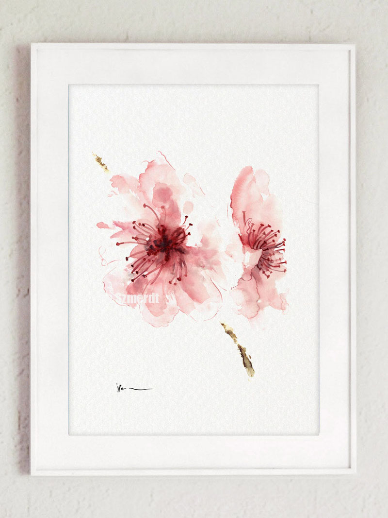 This cherry blossom wall art print by ColorWatercolor, is delicate and light due to the soft pinks used in the petals. #CherryBlossomWallArt #CherryBlossom #CherryBlossomDecor #CherryBlossomArt