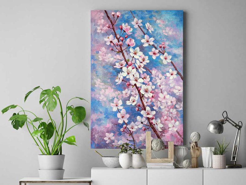 This original oil painting by PrettyArtBoutique, depicts a flowering cherry blossom tree on a blue sky day. #CherryBlossomWallArt #CherryBlossom #CherryBlossomDecor #CherryBlossomArt
