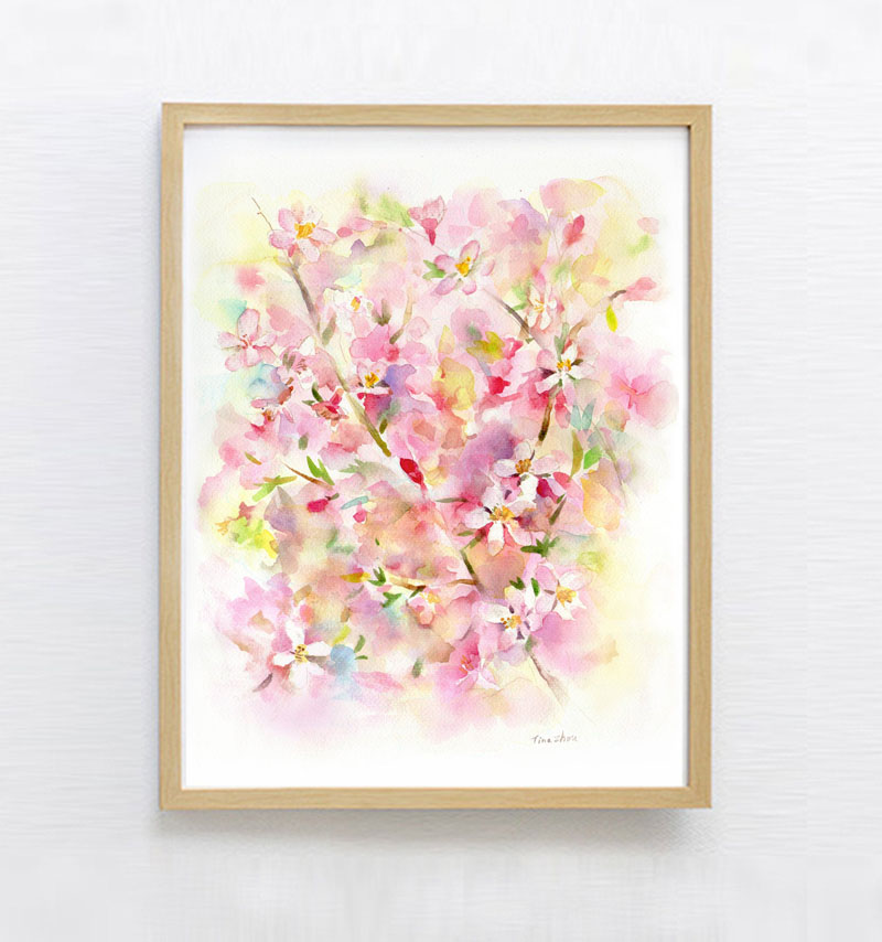324art has created this cherry blossom art print that adds a subtle and colorful touch to any decor. #CherryBlossomWallArt #CherryBlossom #CherryBlossomDecor #CherryBlossomArt