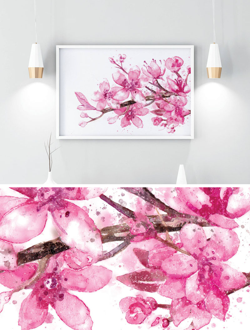 This downloadable cherry blossom print by theGoldenEmpress, has vibrant pink and purple flowers. #CherryBlossomWallArt #CherryBlossom #CherryBlossomDecor #CherryBlossomArt