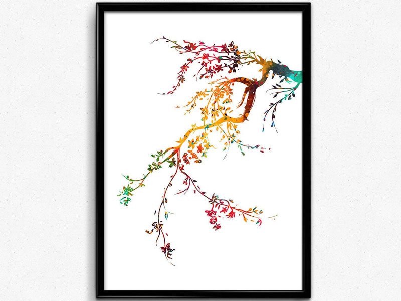 MiaZola has created this modern art print that's a colorful take on a Japanese cherry blossom tree. #CherryBlossomWallArt #CherryBlossom #CherryBlossomDecor #CherryBlossomArt