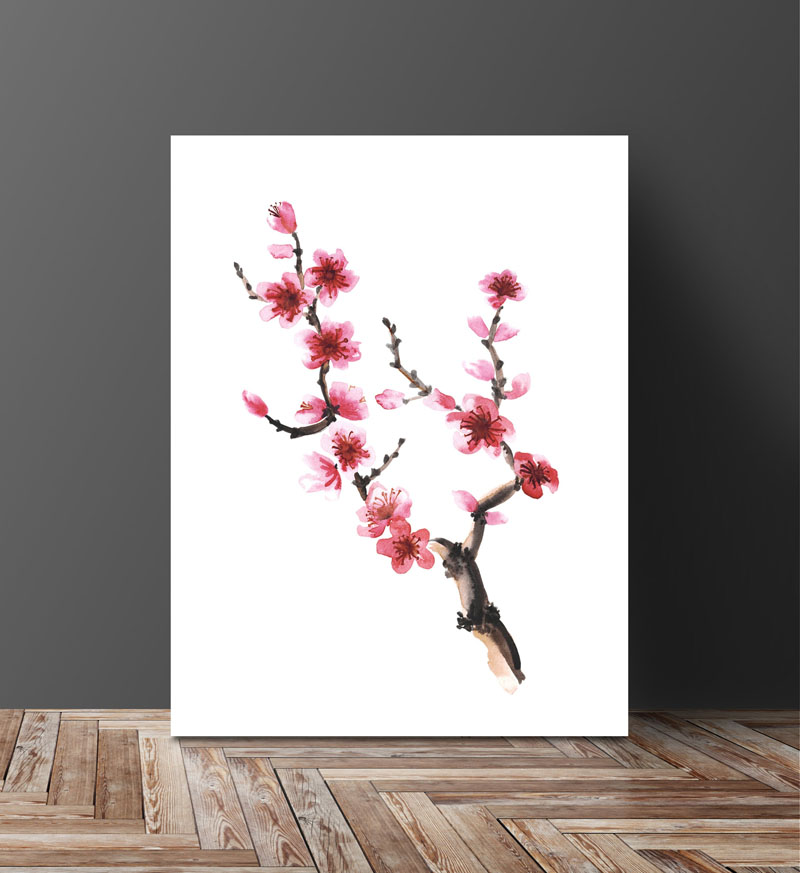 This watercolor art print of a cherry blossom branch by CayaLori, is reproduced using a high quality pigment ink, ensuring a long print permanence and accurate color reproduction. #CherryBlossomWallArt #CherryBlossom #CherryBlossomDecor #CherryBlossomArt
