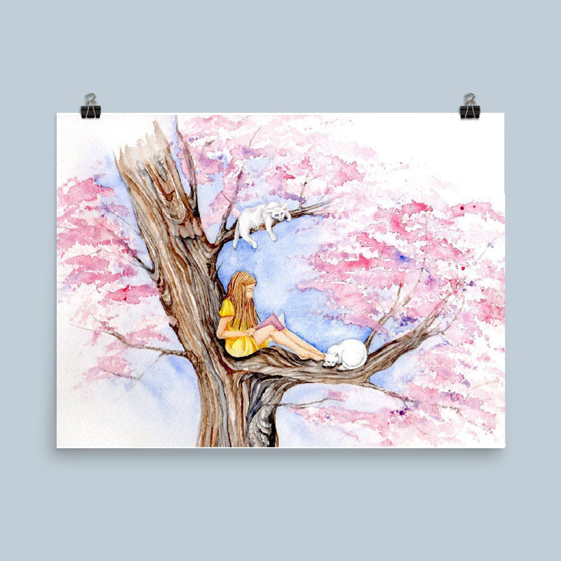 This watercolor art print is a of girl reading a book under a sakura tree (cherry blossom tree) with white cats. #CherryBlossomWallArt #CherryBlossom #CherryBlossomDecor #CherryBlossomArt