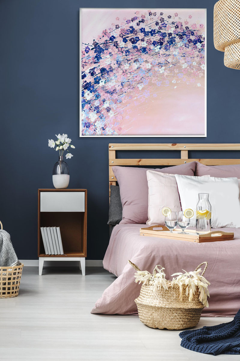 Pastel pinks and blues make this abstract cherry blossom wall art the center of attention in any room. #CherryBlossomWallArt #CherryBlossom #CherryBlossomDecor #CherryBlossomArt
