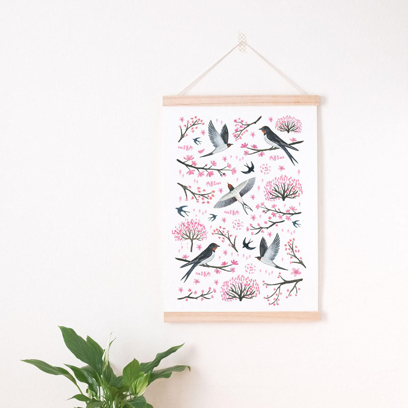 This original wall art by Nathalie Ouederni, features delicate cherry blossom branches together with a variety of birds. #CherryBlossomWallArt #CherryBlossom #CherryBlossomDecor #CherryBlossomArt