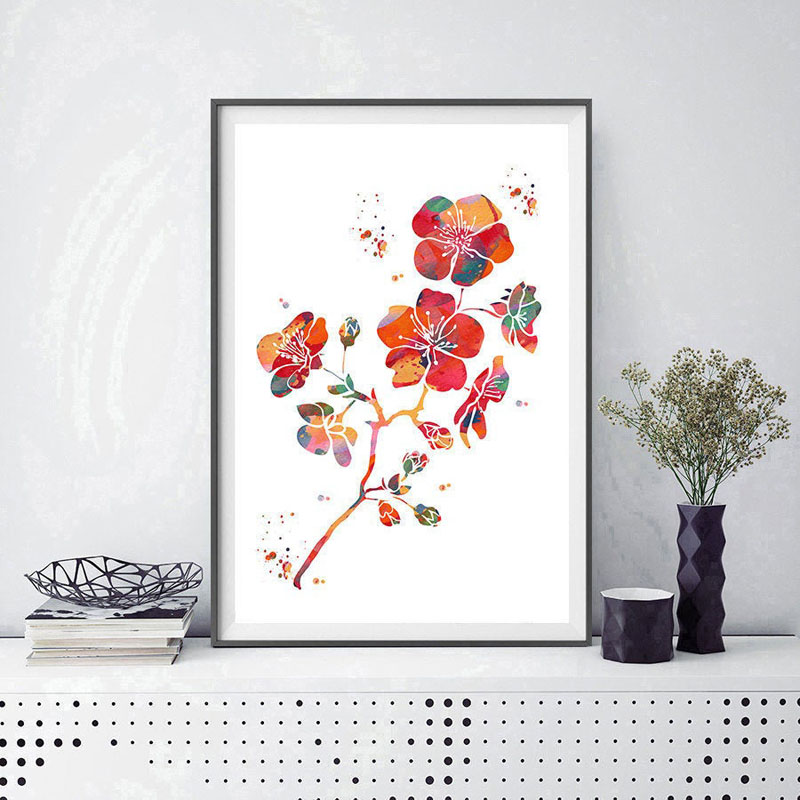 This brightly colored abstract wall art of cherry blossoms was created by watercolor artist Mimi. #CherryBlossomWallArt #CherryBlossom #CherryBlossomDecor #CherryBlossomArt