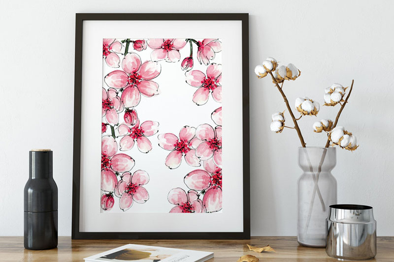 This cherry blossom watercolor wall art print will make sure it feels like spring all year around in any space, or as a great gift idea. #CherryBlossomWallArt #CherryBlossom #CherryBlossomDecor #CherryBlossomArt