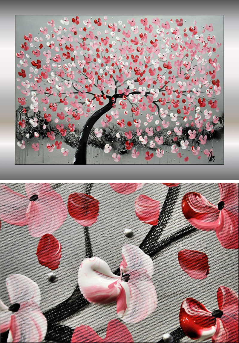 Artist Edelgard Schroer has created this large red cherry blossom wall art using acrylic paints in white, red, gray, black, and rose. #CherryBlossomWallArt #CherryBlossom #CherryBlossomDecor #CherryBlossomArt