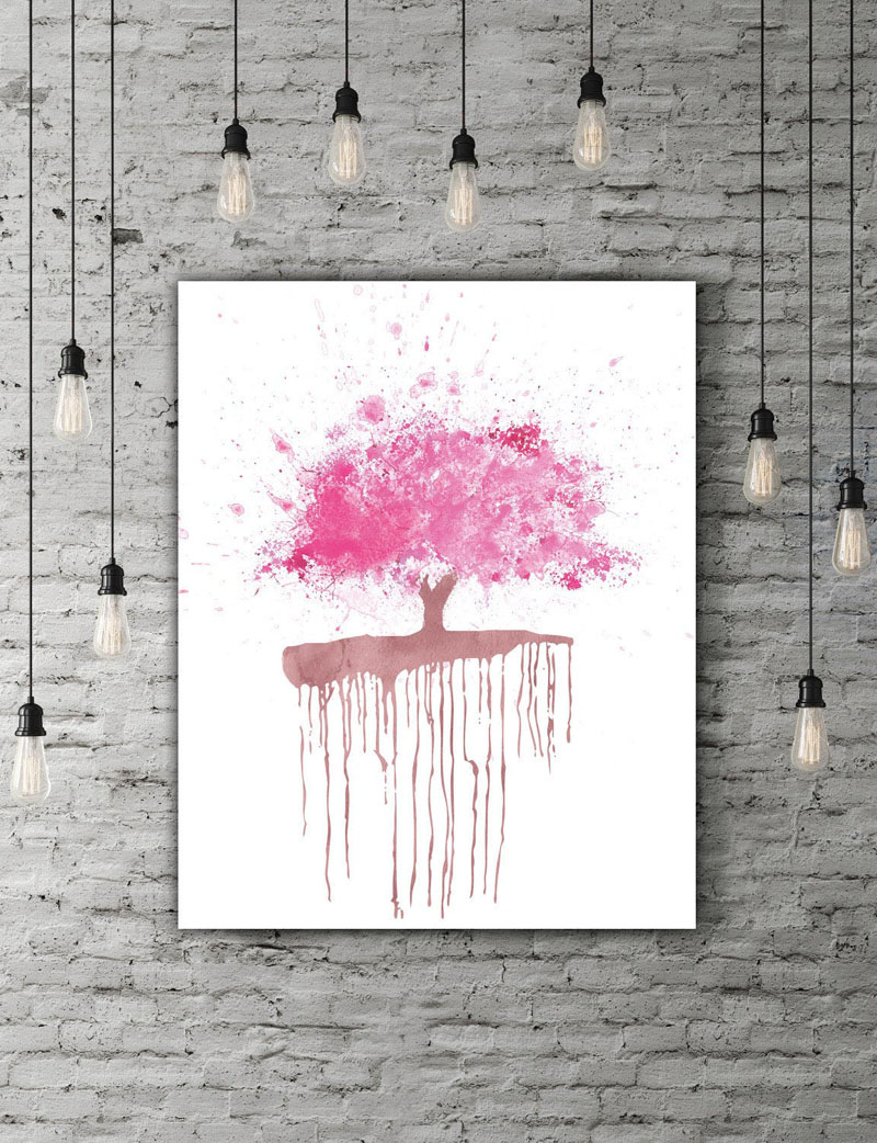 This downloadable cherry blossom wall art has a blank white background with a pink pop of color in the form of the tree. #CherryBlossomWallArt #CherryBlossom #CherryBlossomDecor #CherryBlossomArt