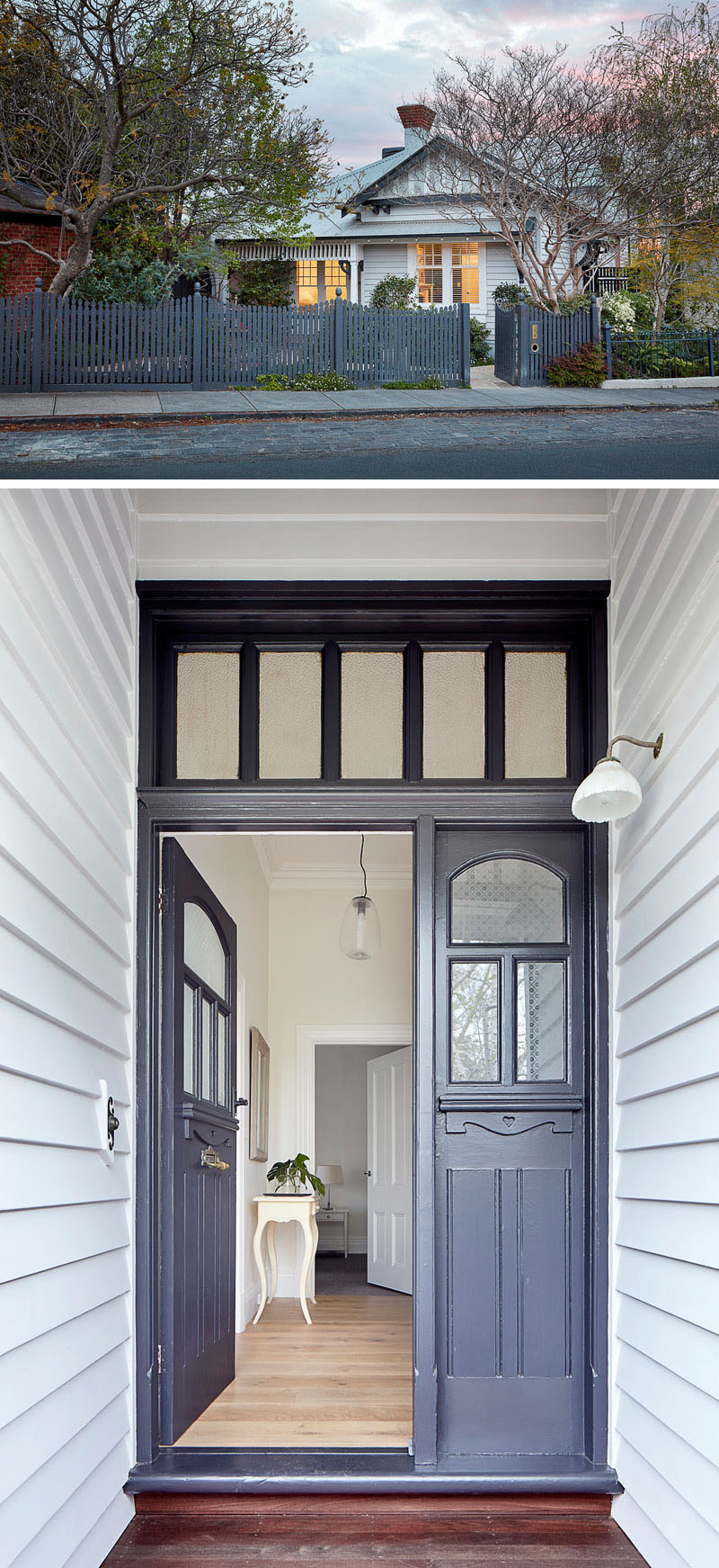 Architecture and interior design firm Bryant Alsop, has given new life to an Edwardian character house in Melbourne, Australia, for their clients who wanted a contemporary family home, that was open-plan and flowed, but retained distinct living areas as was characteristic of the older house. #HouseDesign #FrontDoor