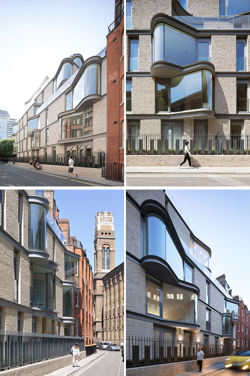 The floor-to-ceiling curved windows protruding from this modern apartment were designed to enlarge the interior living space, while also adding interest to the exterior of the building for people walking past. #Windows #CurvedWindows #ModernArchitecture