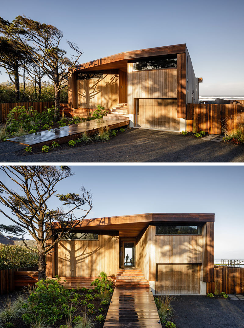 Vertical western red cedar covers this modern house and overtime, it will grey as it ages, somewhat blending into its surroundings. #ModernHouse #HouseDesign #ModernArchitecture