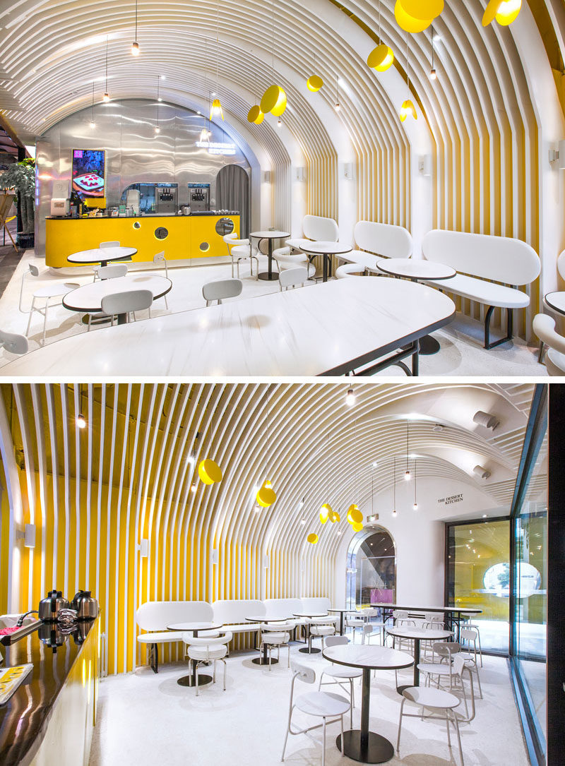 "Inside this modern cafe, the designers intended to create a dessert heaven with a church-like interior structure with a sense of ""ritualism"". Elements of towering domes of churches were applied to the ceiling, which consists of several vaults. #CafeDesign #CafeInterior #RetailDesign #HospitalityDesign"