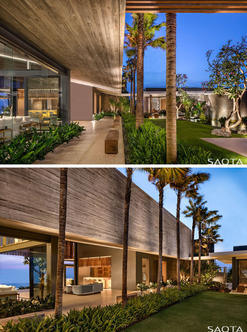 This modern house has a resort-style layout with the social living areas separated from the sleeping areas with courtyards and gardens. #ModernHouse #HouseDesign #Landscaping #Garden
