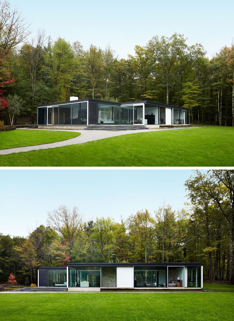 This unique and modern glass house is surrounded by trees in Columbia County, New York. #GlassHouse #ModernArchitecture