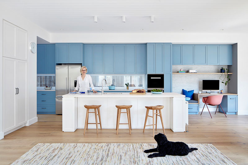 Cool A Wall Of Light Blue Kitchen Cabinets Adds A Colorful Touch Beutiful Home Inspiration Truamahrainfo