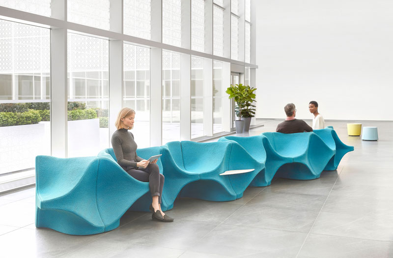 This large lobby seating arrangement was designed by Karim Rashid, who was inspired to create a furniture piece that would facilitate conversation. #FurnitureDesign #LobbyFurniture #Design