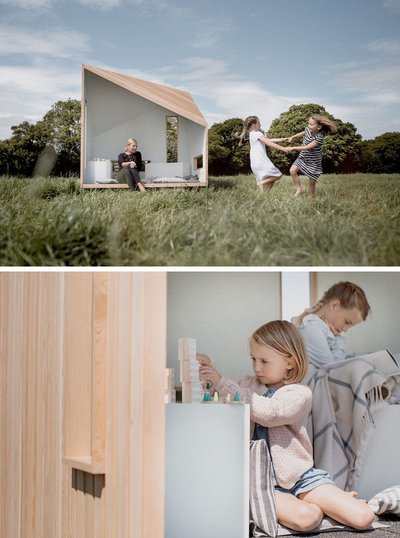 Inspired by the simplicity of a Scandinavian log cabin, but with a modern aesthetic, the ILO playhouse is handcrafted in the UK using locally sourced larch timbers, recycled rubber flooring, and all natural paints and finishes. #Playhouse #OutdoorPlayhouse