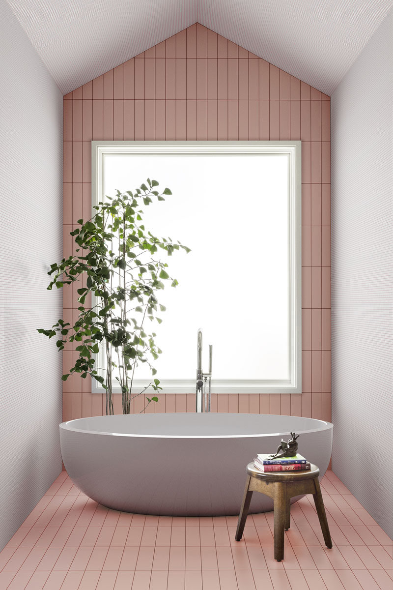 Skinny format tiles offer the perfect opportunity to create a playful composition. #ModernTiles #SkinnyTiles #TileDesign #PinkTiles