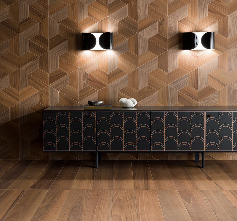 Inlay is one of the oldest decoration techniques in the book, gracing the floors and furniture of wealthy estates for centuries. Now with advanced digital printing technology, everyone can have instant access to the charm of inlaid wood and parquet flooring for a fraction of the price. #InlayWood #ModernTiles #TileDesign #WoodTiles