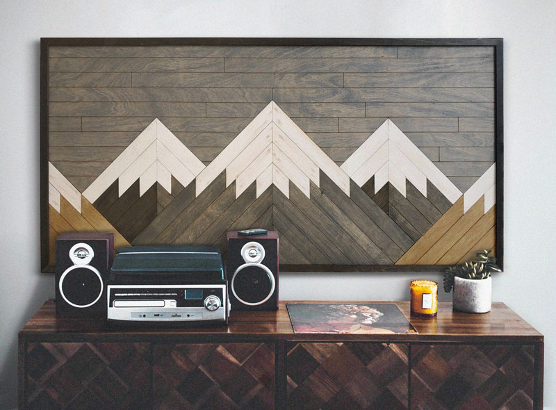 This reclaimed wood wall art was inspired by the towering mountains of the Blanca Peak Group. #MountainWallArt #MountainArt #MountainDecor #WoodWallArt