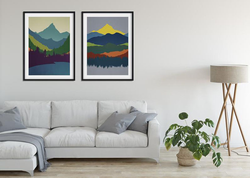 This set of 2 colorful abstract art prints by HELLSTROMprints, depicts a pair of colorful mountain ranges and the surrounding landscapes. #MountainWallArt #MountainArt #MountainDecor #MountainPrint