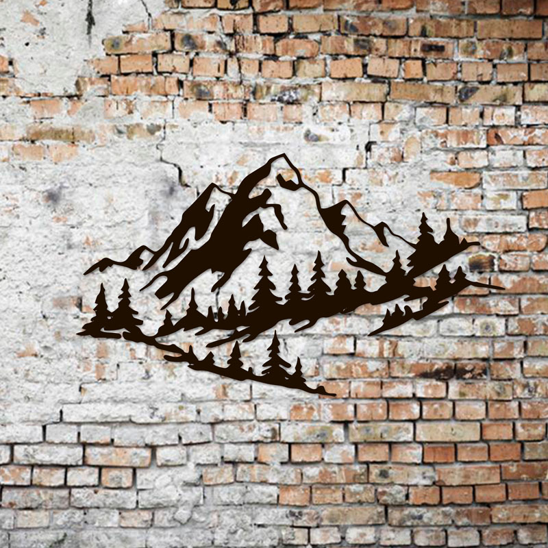 This 'Mountains' metal sign is a modern and stylish wall art piece, that's made from 1 mm steel, that you can choose to spray paint in your favorite color or make a polished metal. #MountainWallArt #MountainArt #MountainDecor #MetalWallArt