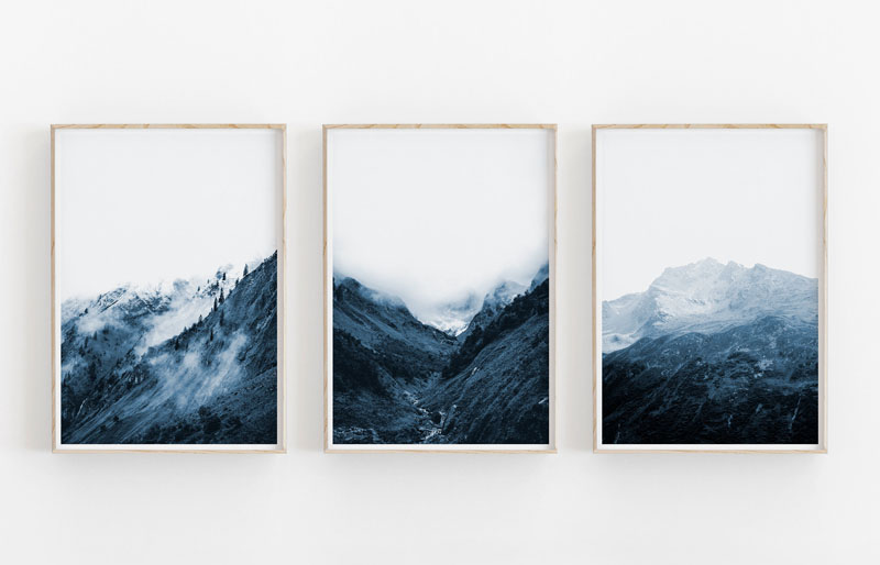 This triptych wall art consists of three photos of mountains that can be digitally downloaded. #MountainWallArt #MountainArt #MountainDecor #MountainWallPrints
