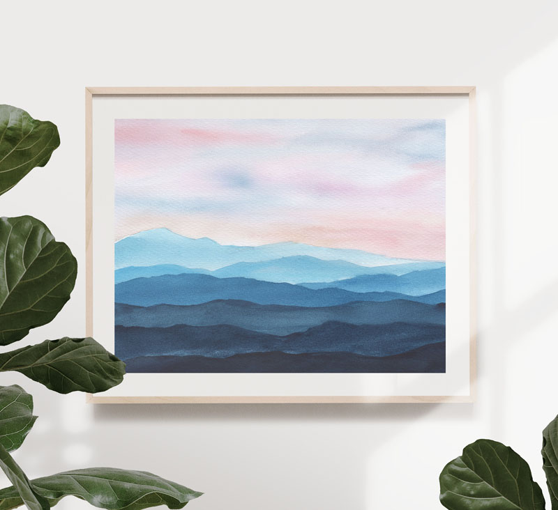 GusGusStvaraonica has created an mountainous watercolor art print that shows soft colors that would be suitable in any type of interior. #MountainWallArt #MountainArt #MountainDecor #WatercolorArtPrint