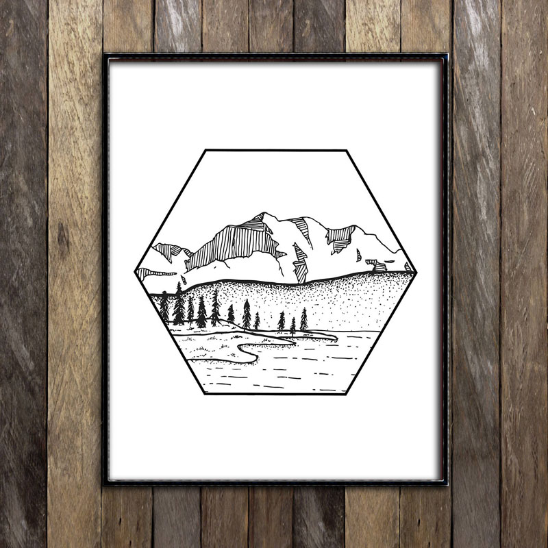 This print by RambleOnSupplyCo pictures a modern hand-drawn illustration of a river running through a mountain landscape. #MountainWallArt #MountainArt #MountainDecor #ModernWallArt