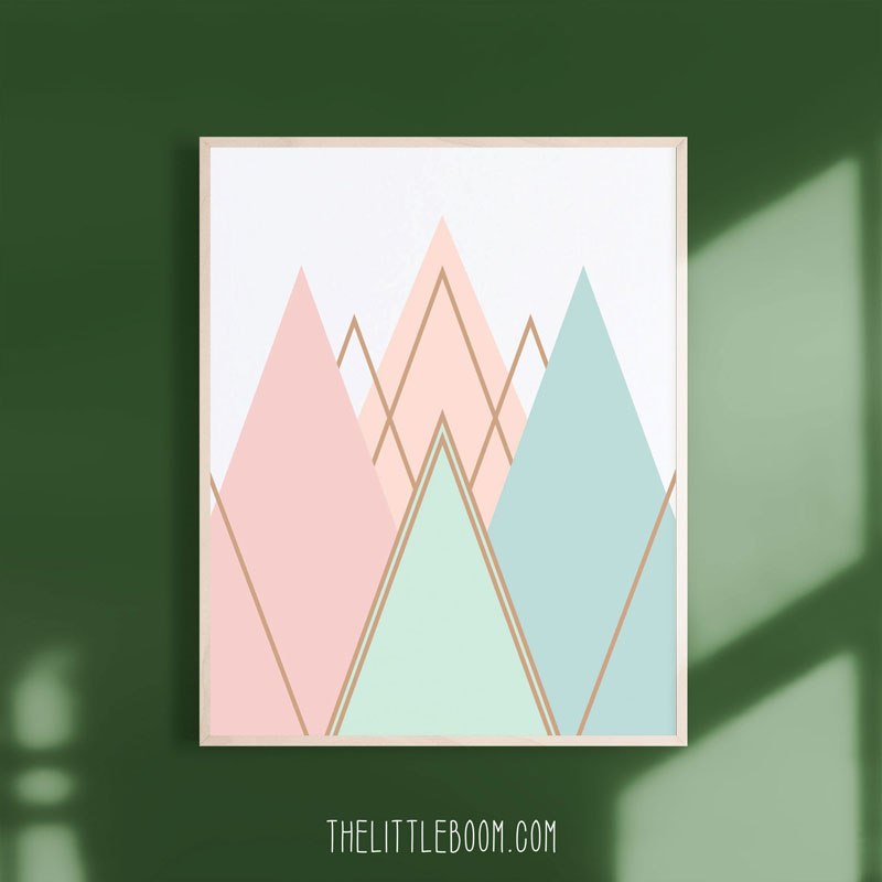 LittleBloomPrints have designed this modern art print that features a series of mountains in soft pastel colors. #MountainWallArt #MountainArt #MountainDecor #ModernArt