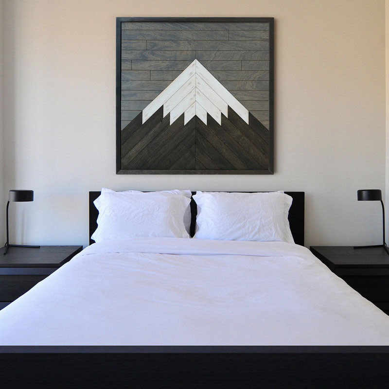 Made of natural wood, this modern mountain wall art has been created by Texas-based Other Furniture. #MountainWallArt #MountainArt #MountainDecor #WoodWallArt