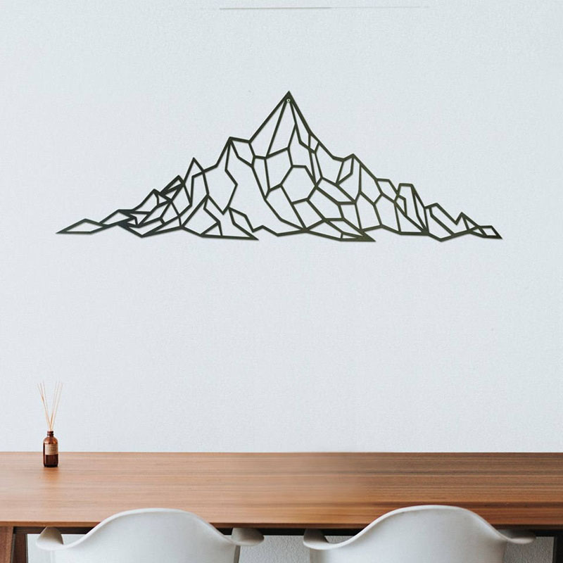 Minimalist in its design, this metal wall art depicts a mountain scene, that can also have the finished color customized. #MountainWallArt #MountainArt #MountainDecor #MetalWallArt